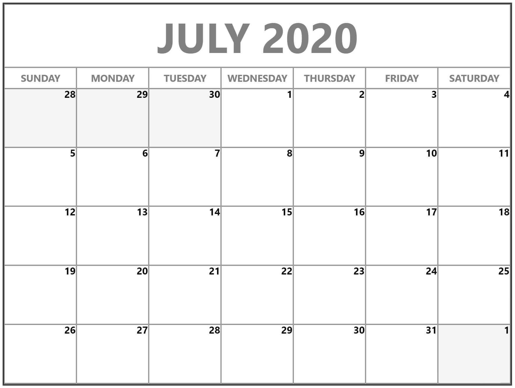 Free Calendar July 2020 Printable