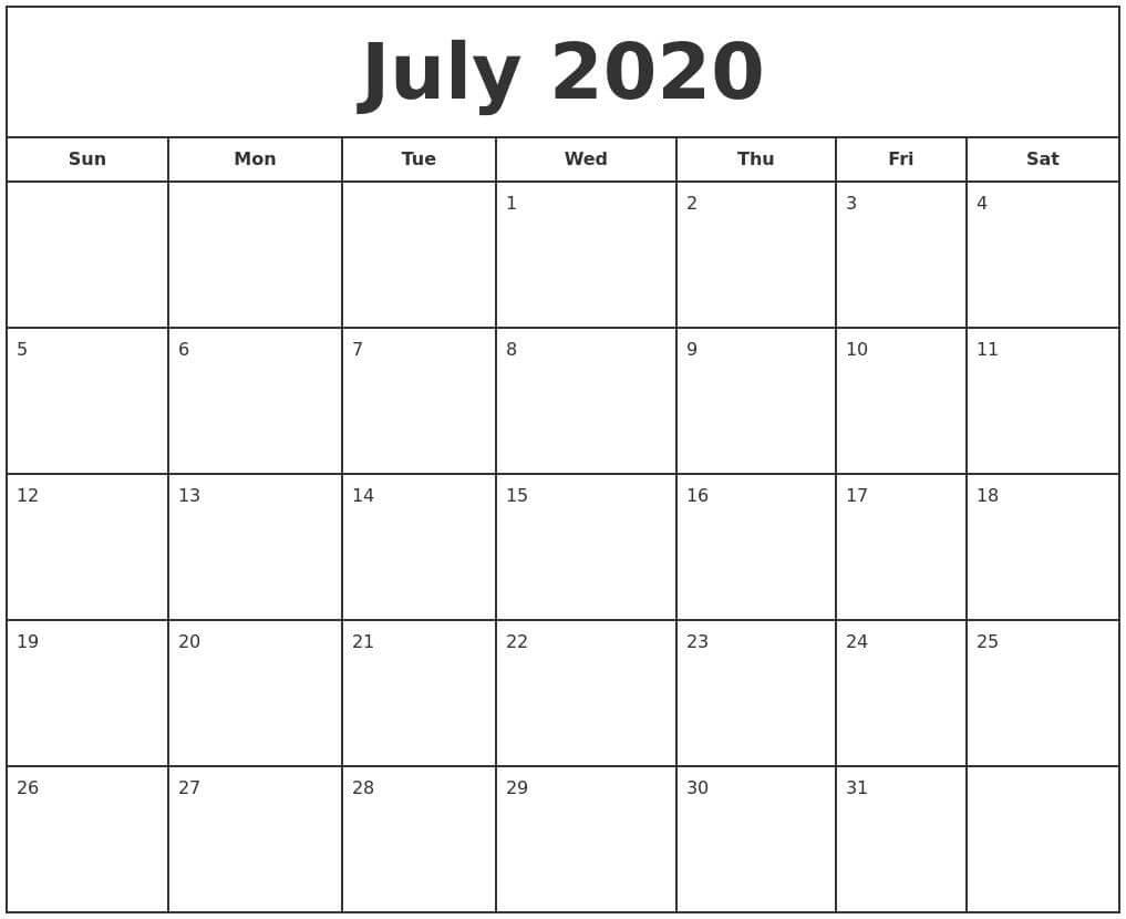 Free July 2020 Calendar Wallpaper
