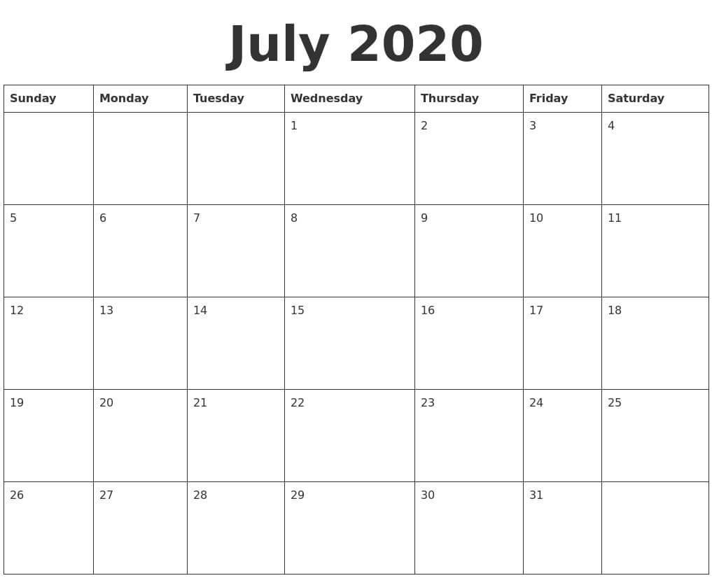 Free Printable 2020 Calendar July