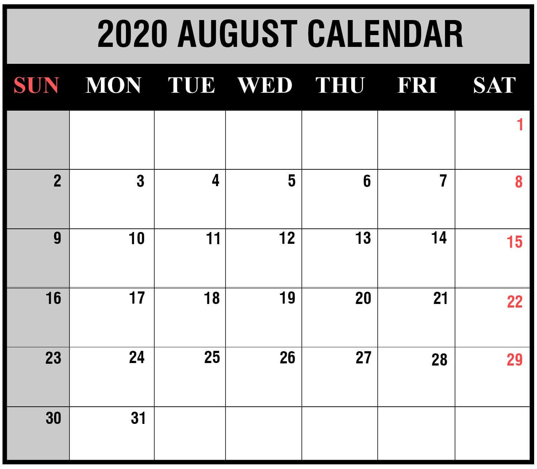 Holoday August 2020 calendar