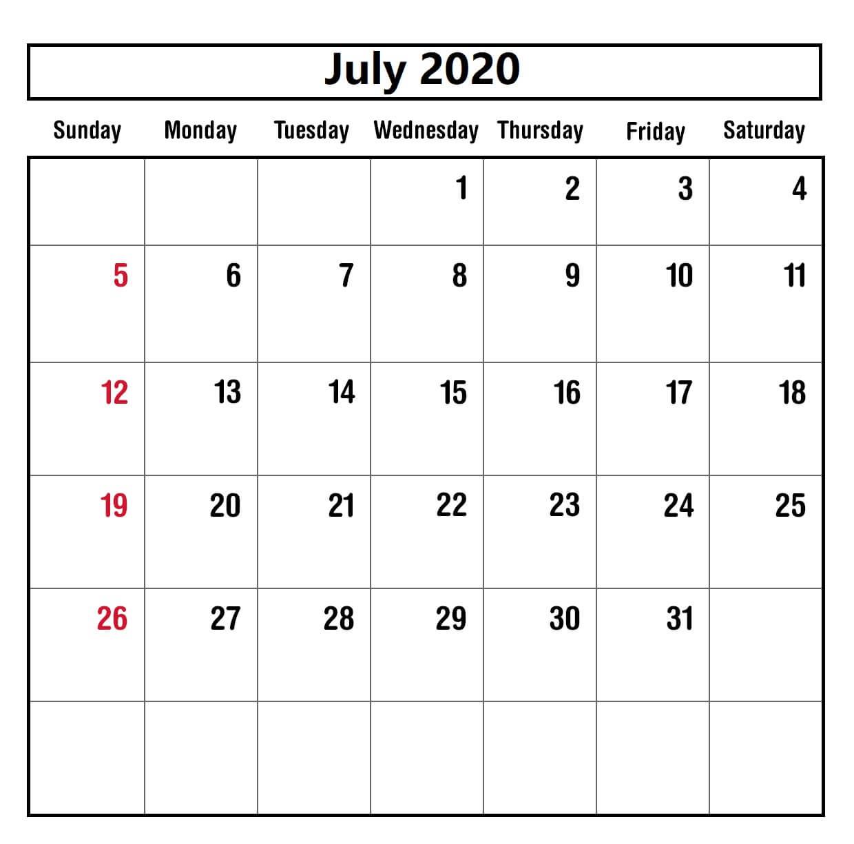 Holoday july 2020 calendar