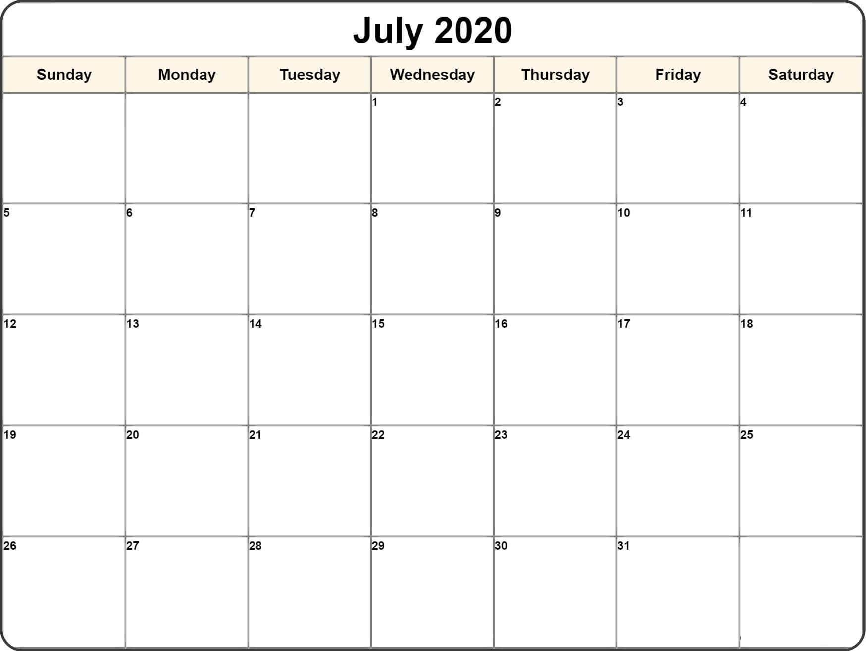 July 2020 Calendar Holidays
