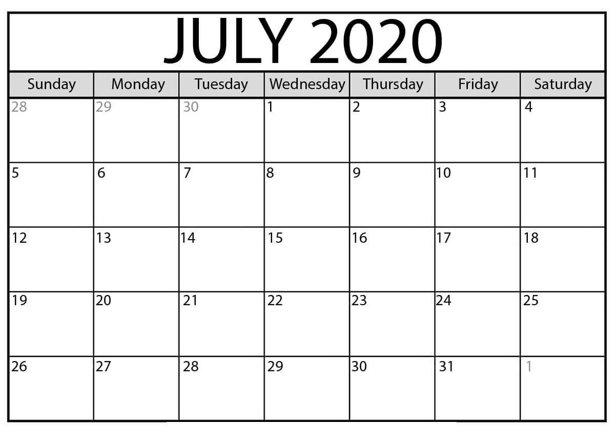 July 2020 Calendar Monthly download
