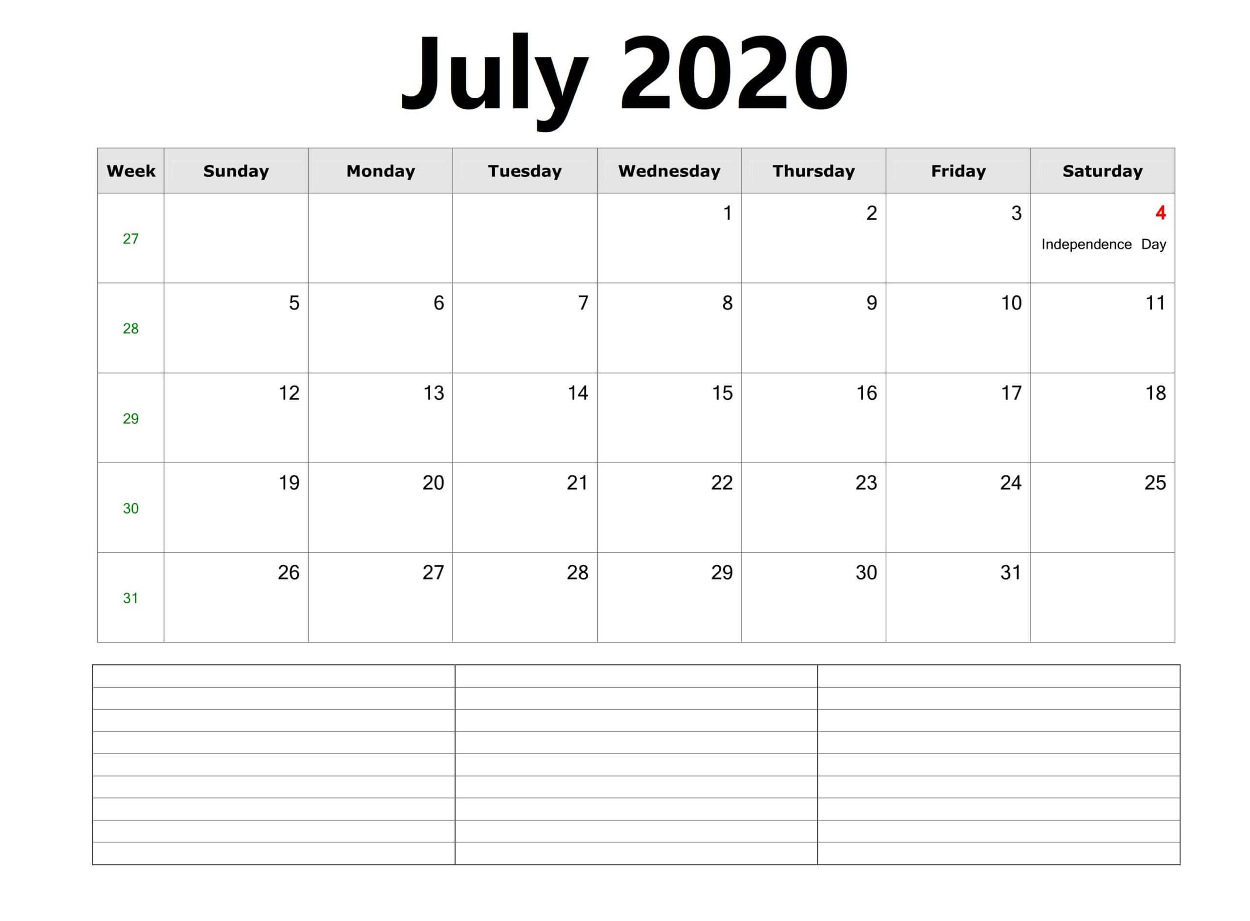 July 2020 Calendar Monthly