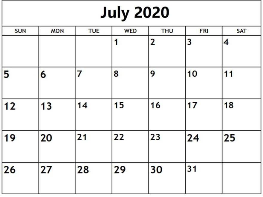 July 2020 Calendar PDF download