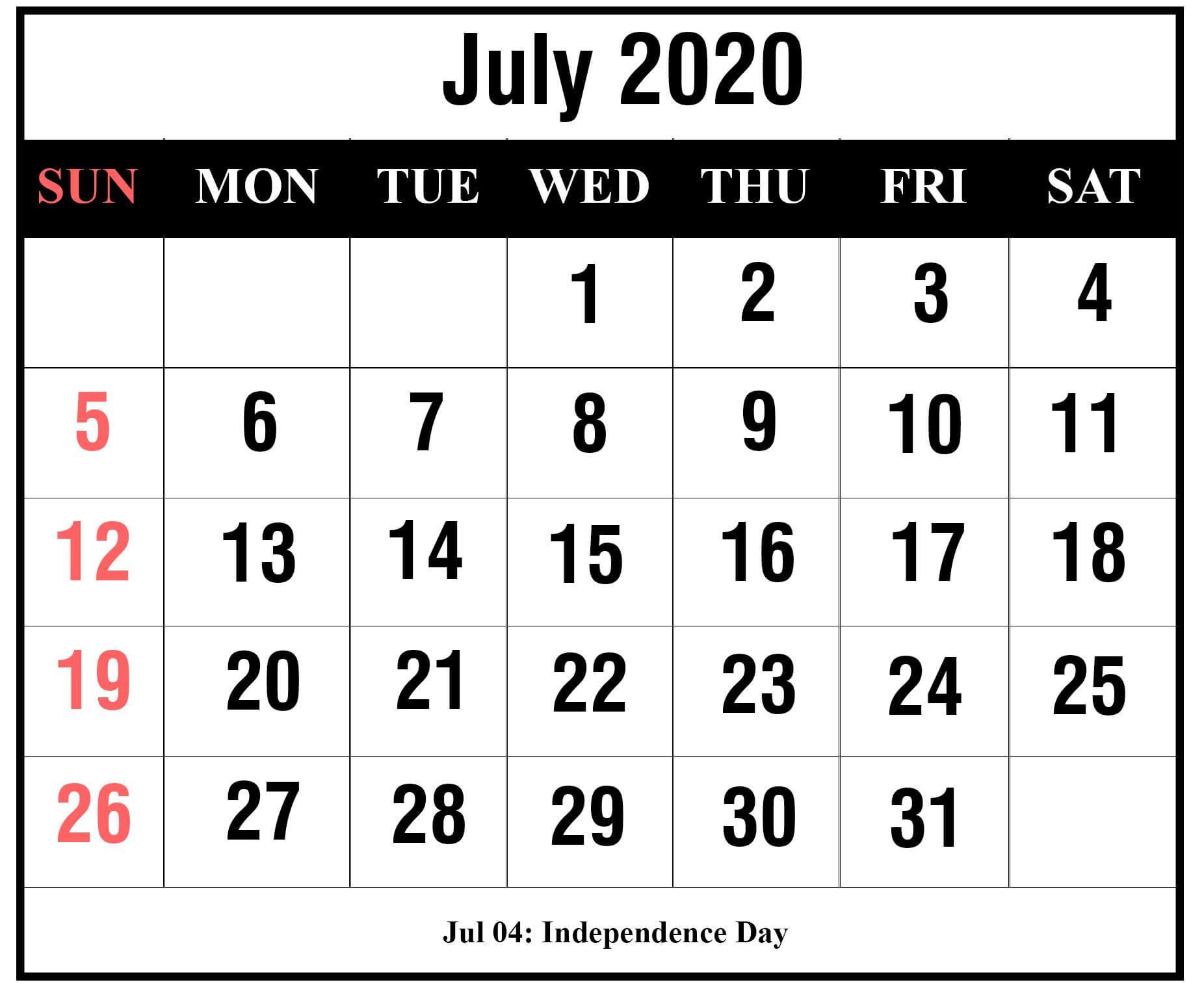 July 2020 Calendar Template For Kids