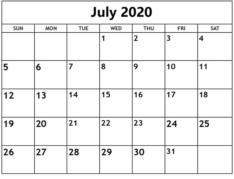 July 2020 Calendar Template Free