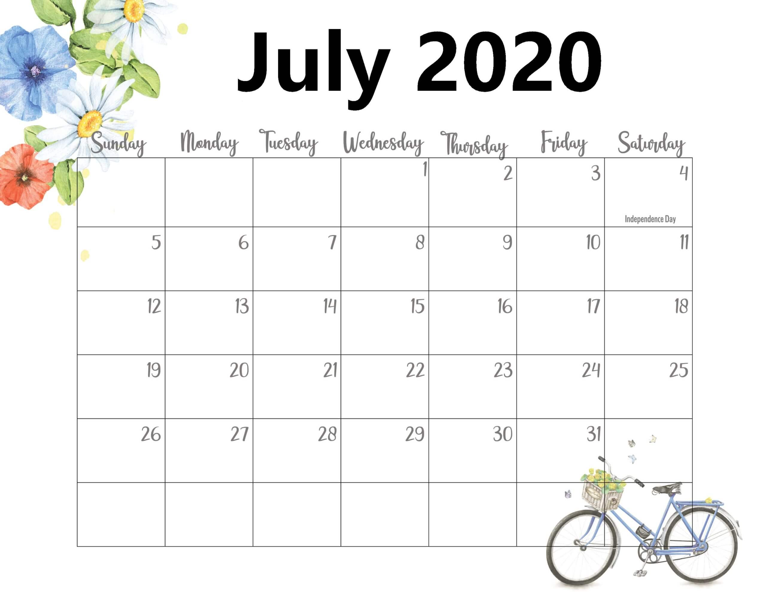 July 2020 Calendar With Holidays Layout