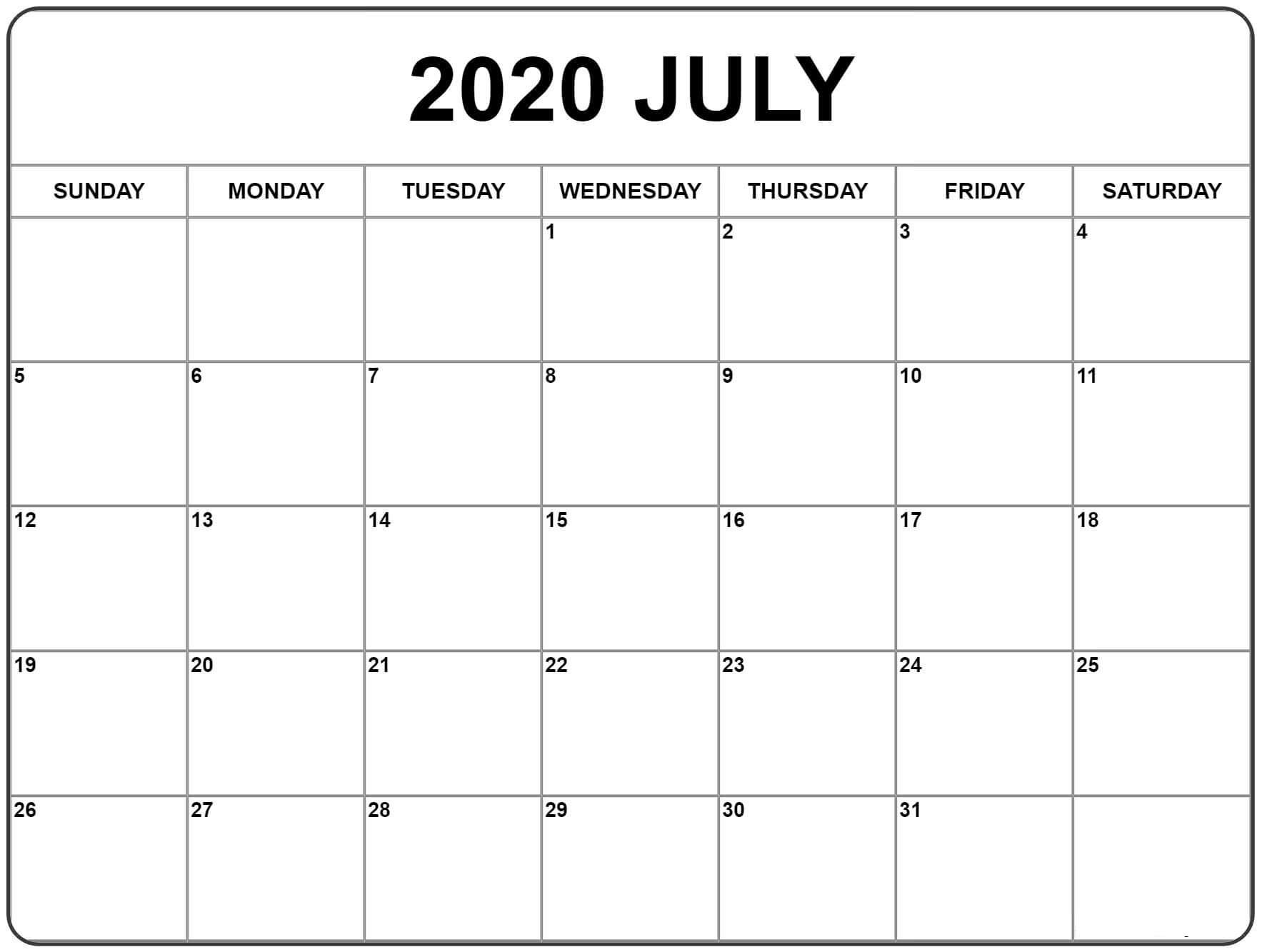 July 2020 Calendar With Holidays Sheet