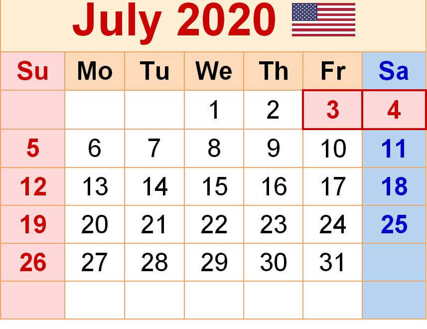 July 2020 Calendar With Holidays USA