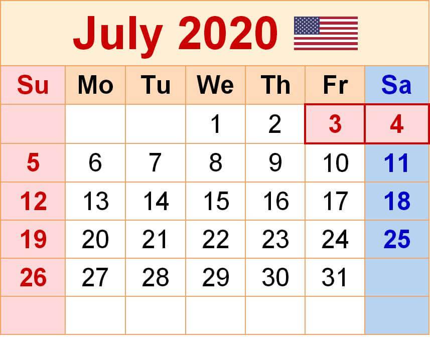 July 2020 Calendar With Holidays USA