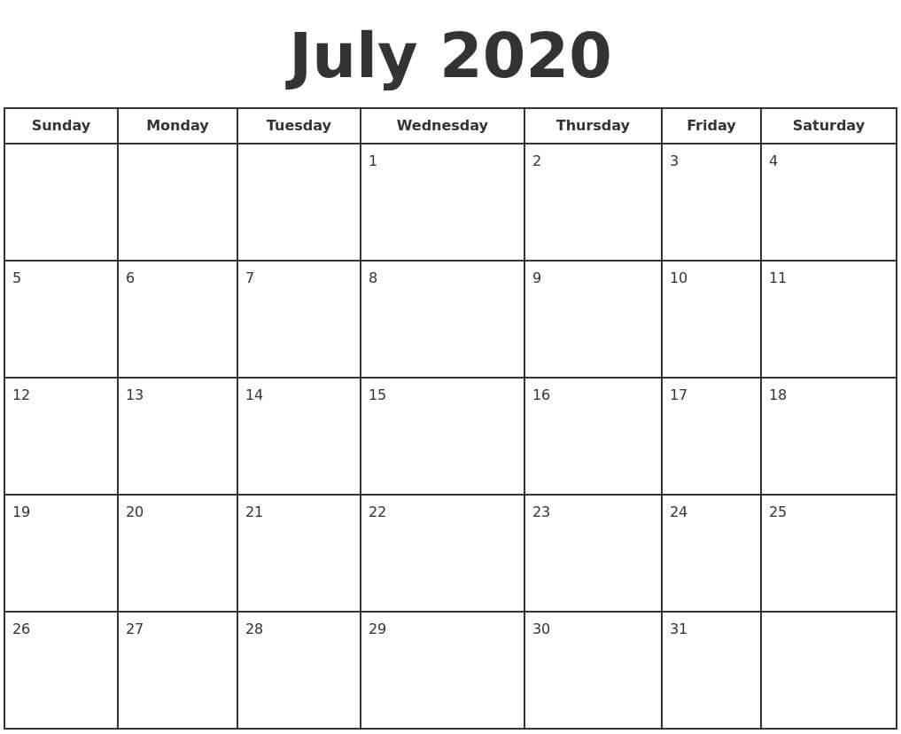 July 2020 Calendar With Holidays download