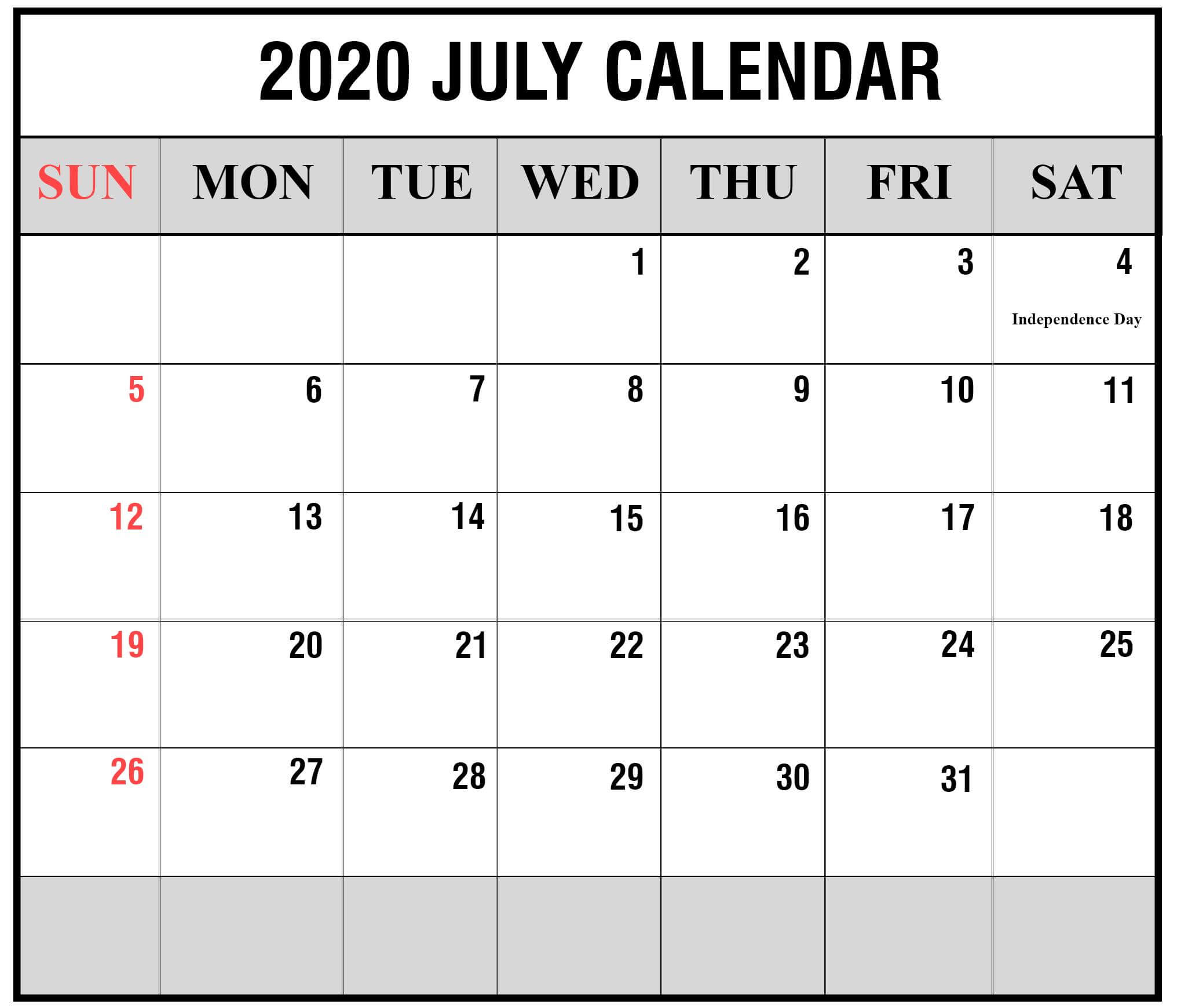 July 2020 Holidays Calendar