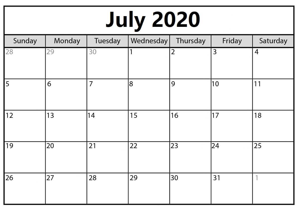July 2020 Monthly Calendar For Kids