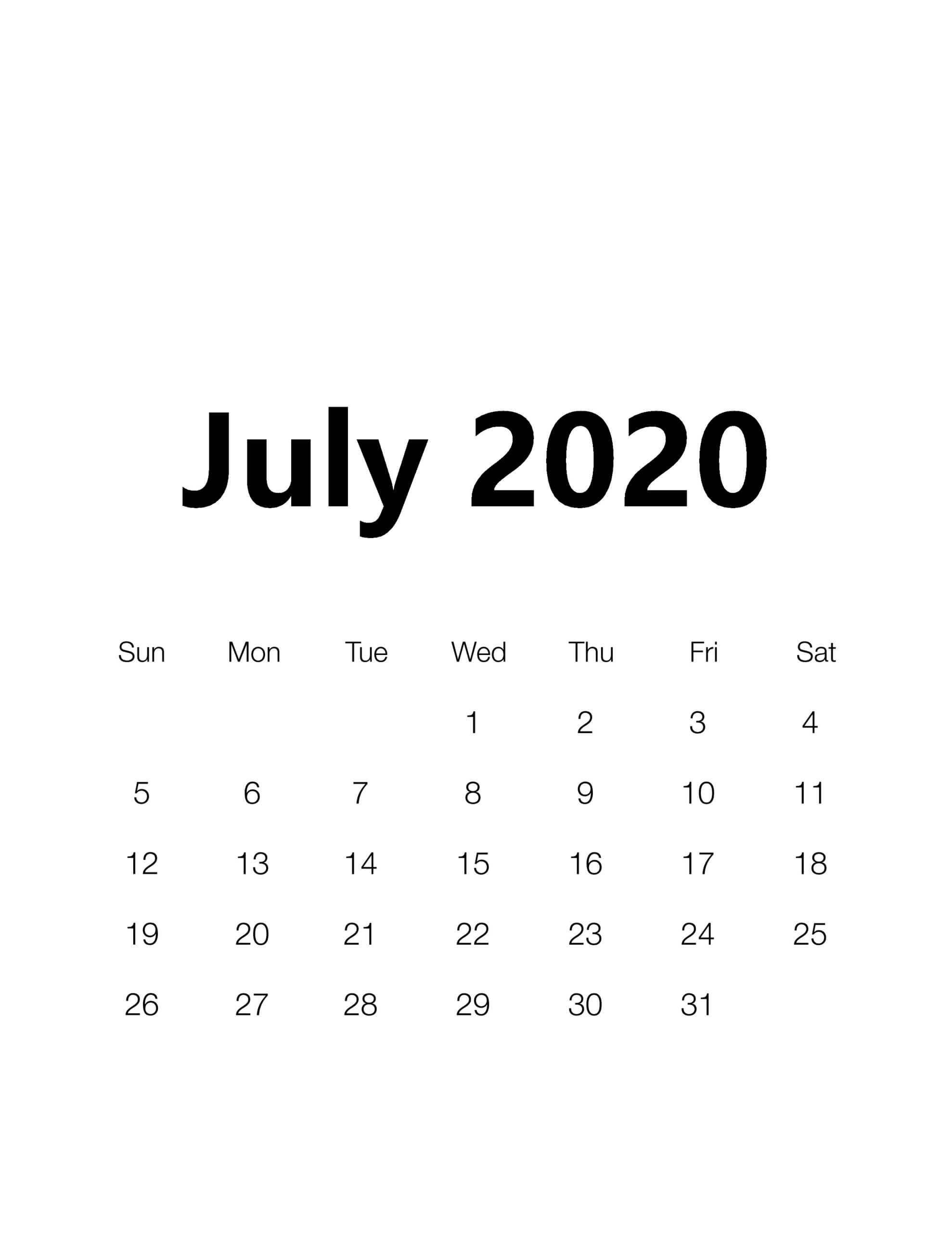 July 2020 Monthly Calendar