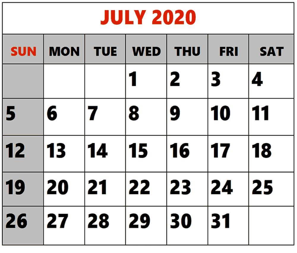 July 2020 Template Calendar