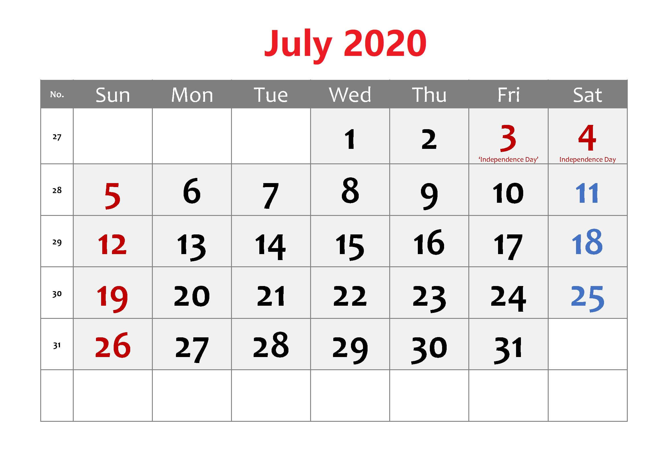 July 2020 Template download