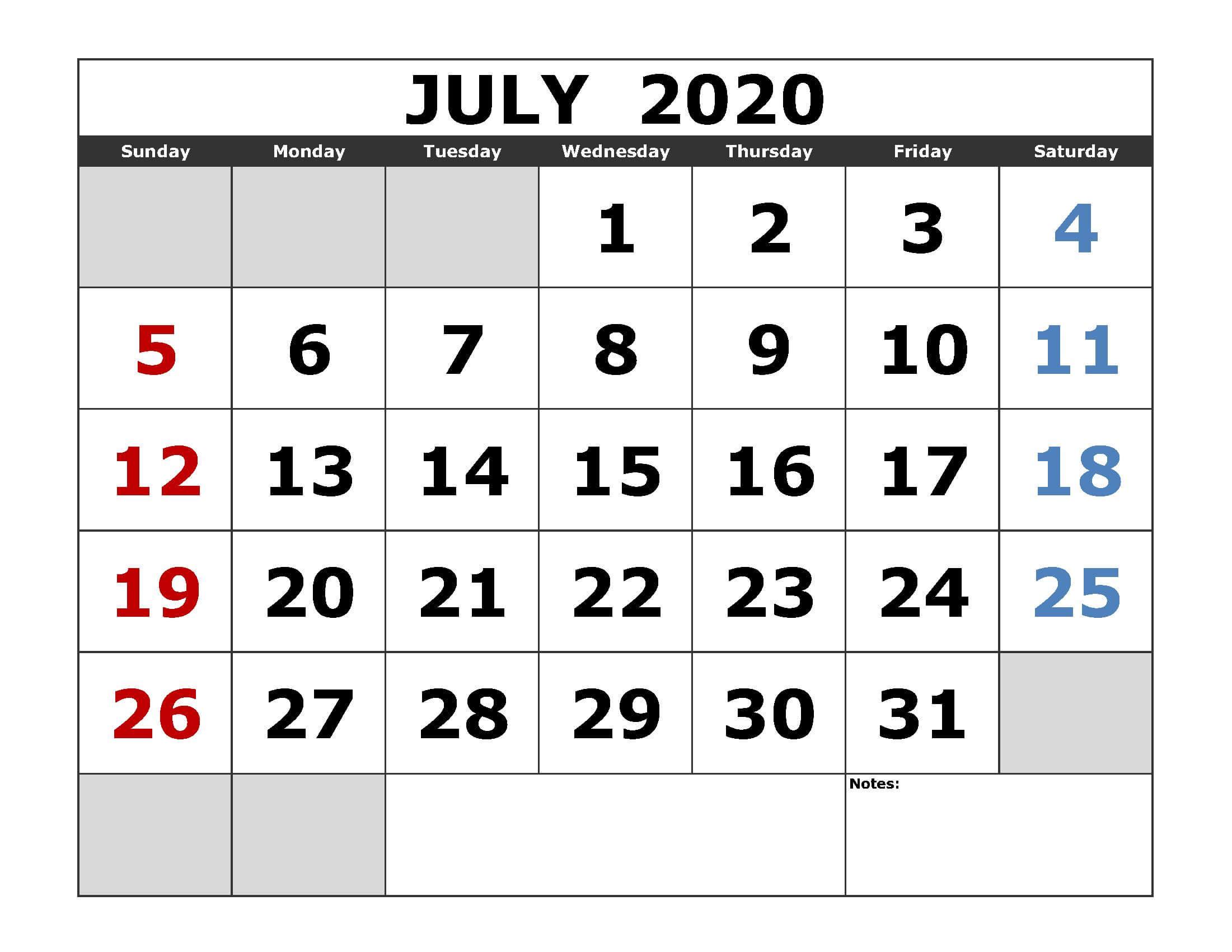 July 2020 Wallpaper Calendar