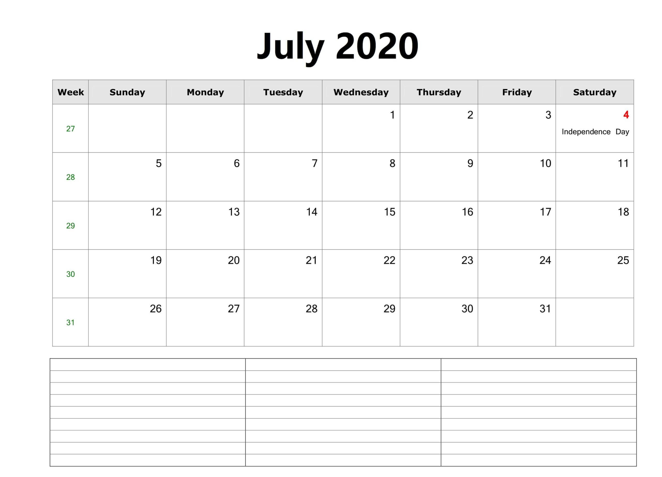 July Calendar 2020 Template free