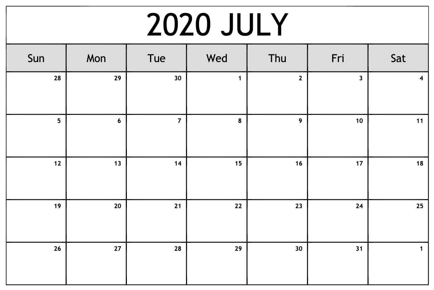 July Calendar 2020 Wallpaper