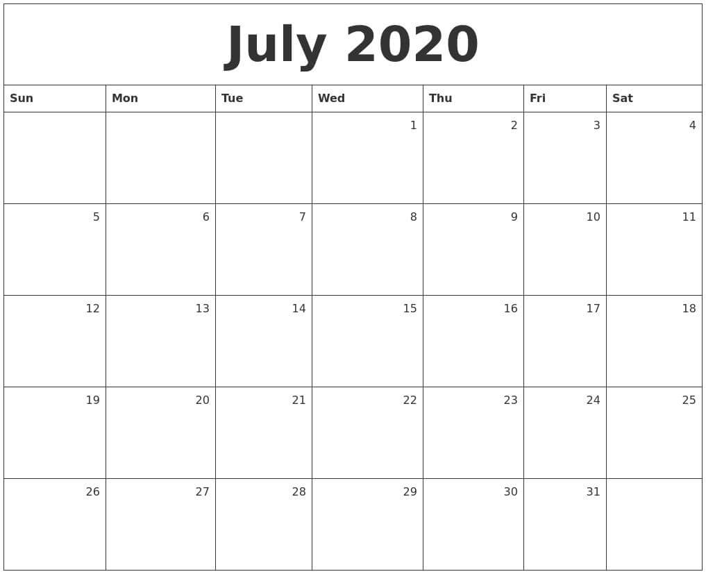 July Calendar 2020 With Holidays