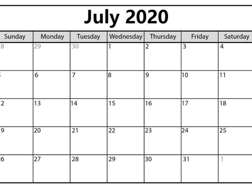 July Printable 2020 Calendar