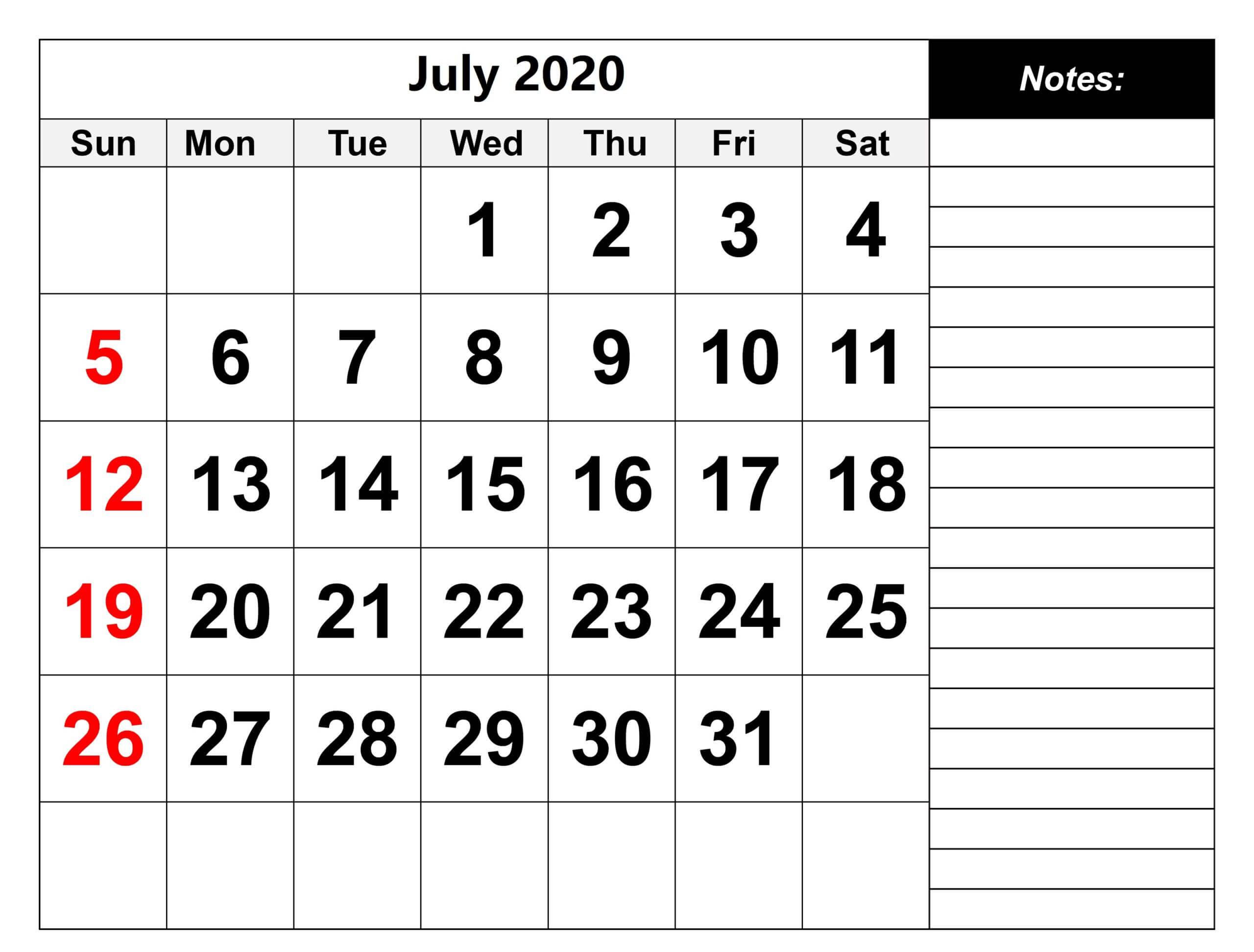 Monthly July calendar 2020