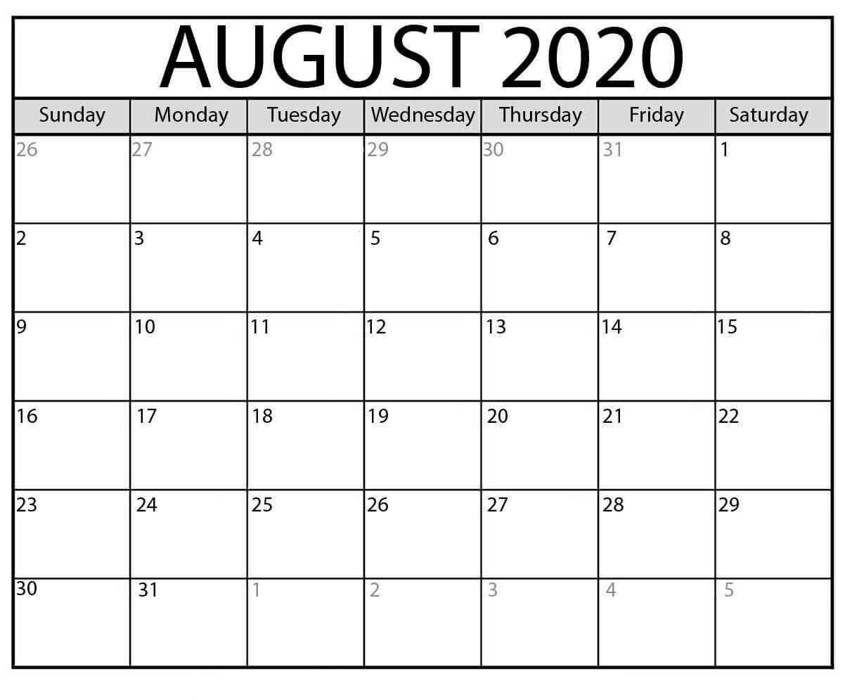 PDF August 2020 Calendar Template