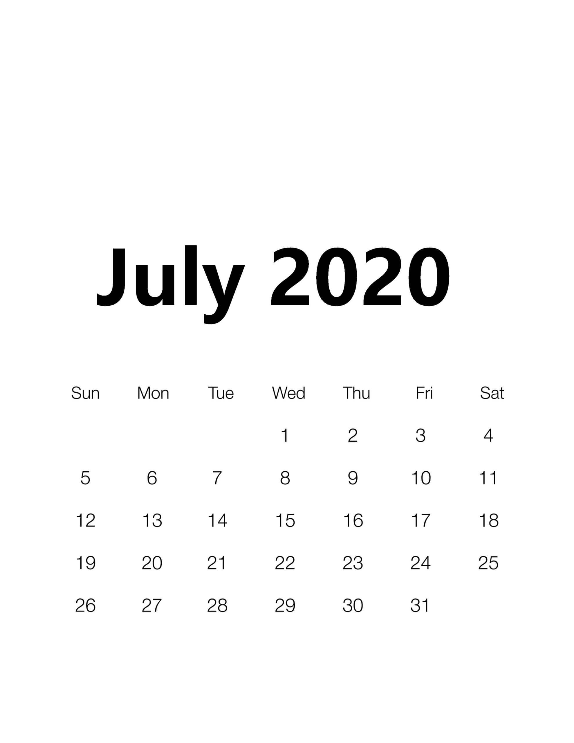 PDF July 2020 Calendar Template