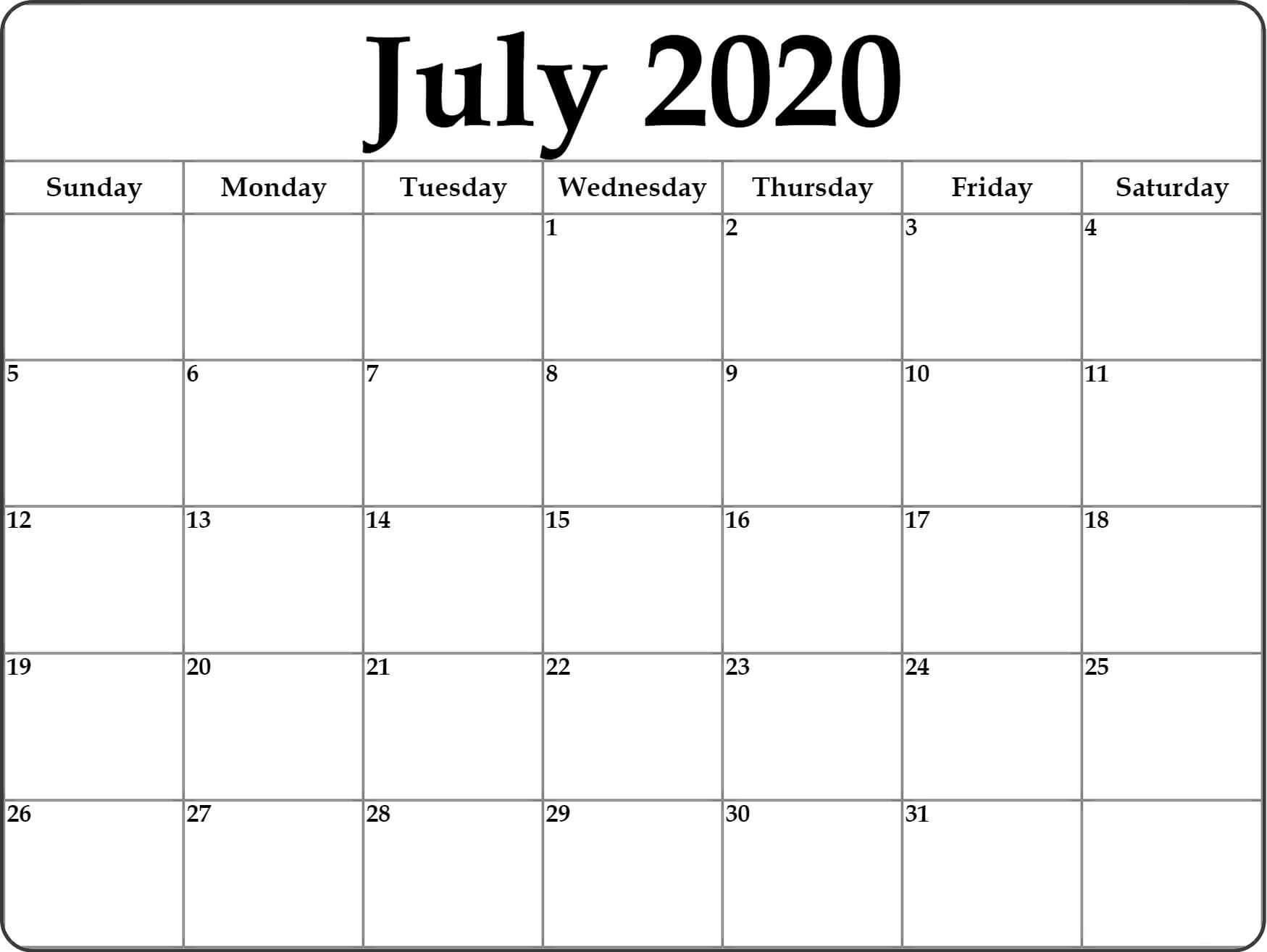 PDF July 2020 Calendar Wallpaper