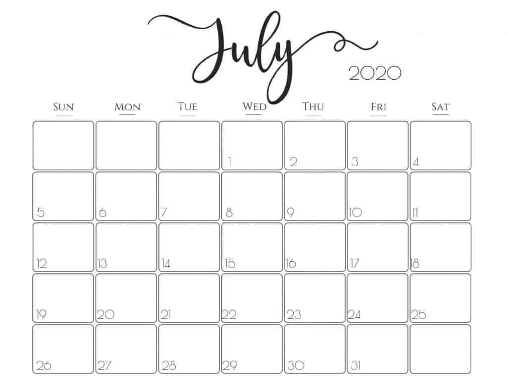 PDF July 2020 Calendar