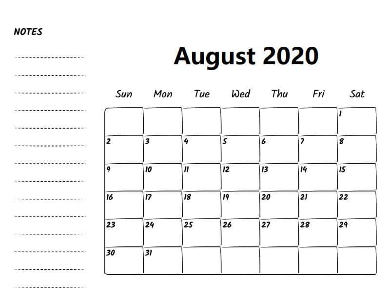 Printable August 2020 Calendar Excel