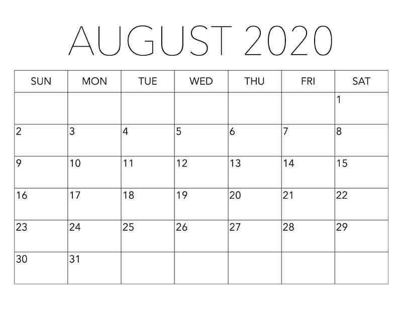 Printable August 2020 Calendar With Holidays 1