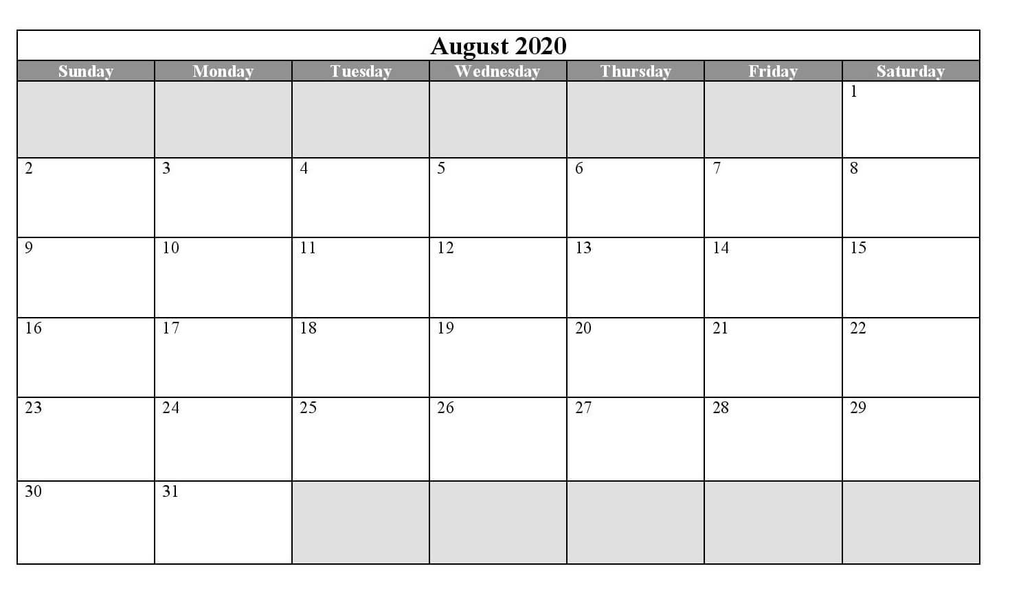 Printable Calendar For August 2020 download