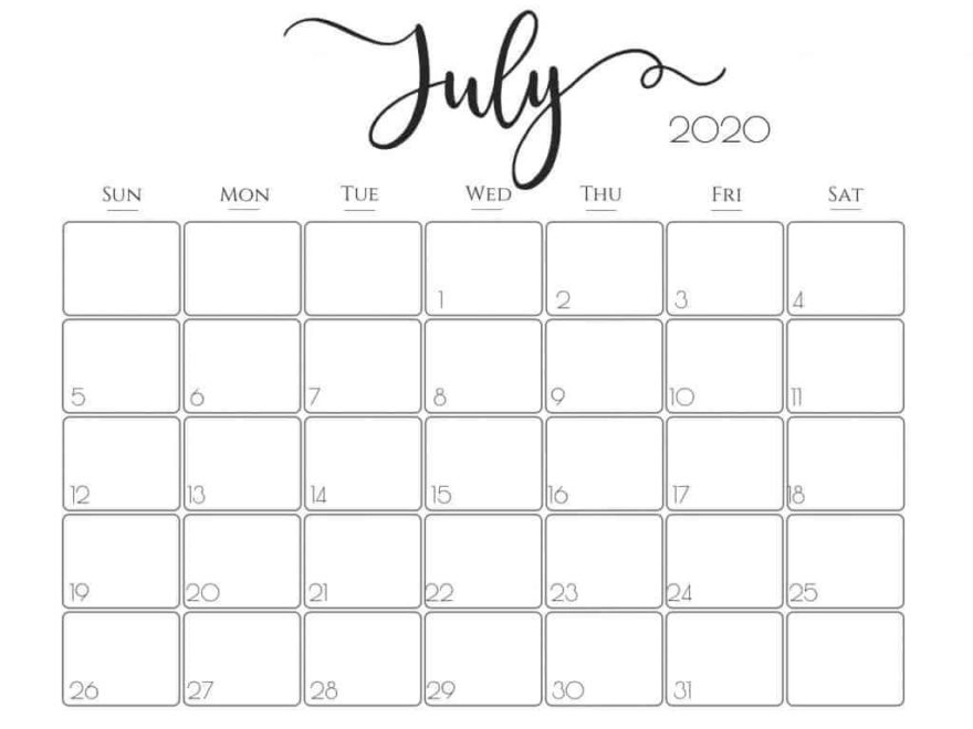 Printable Calendar For July 2020 download