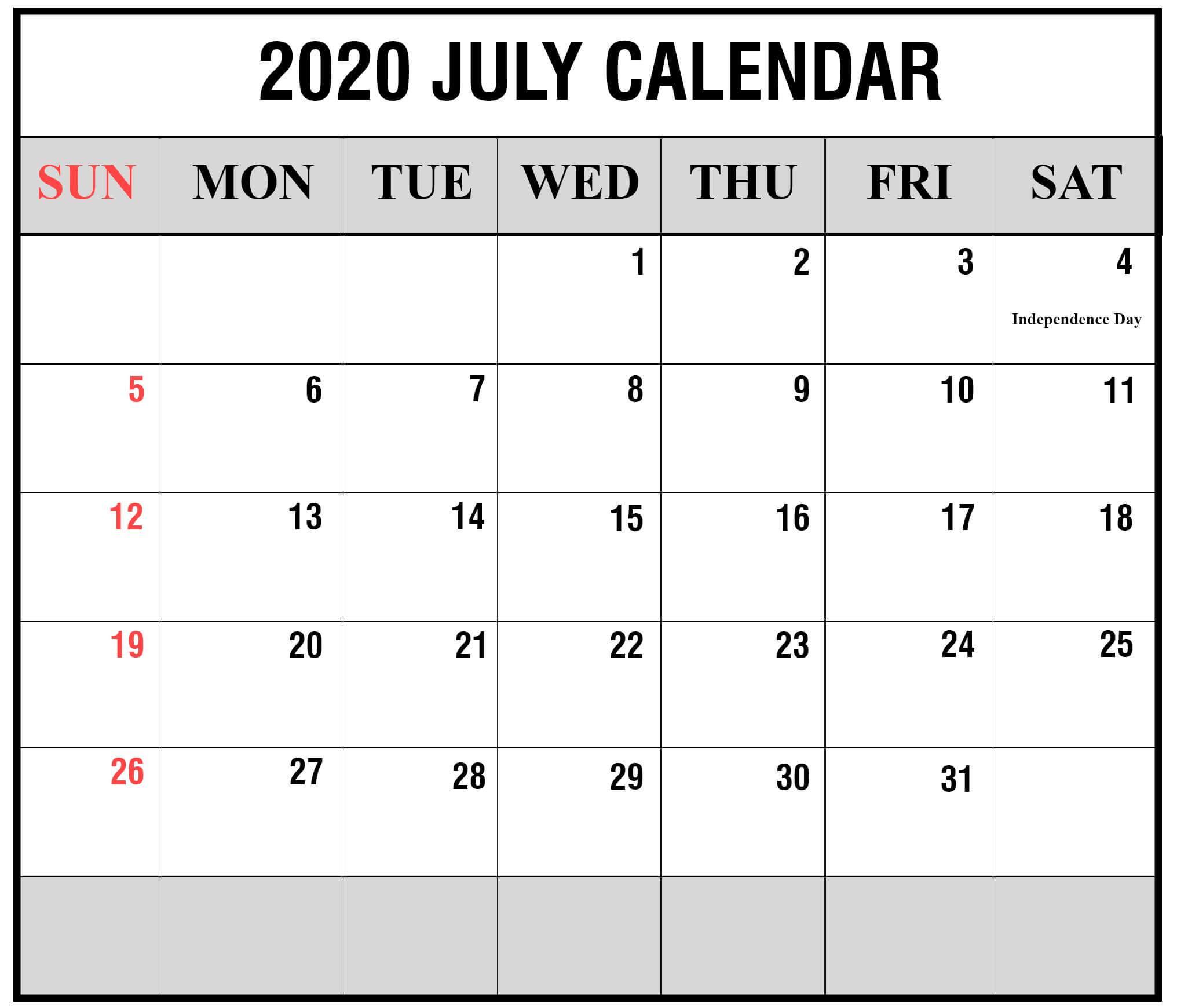 Printable Calendar For July 2020