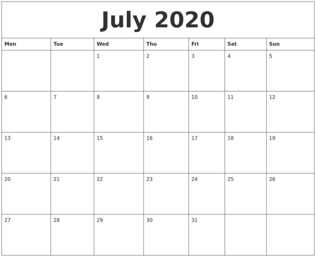 Printable Calendar July 2020 Free