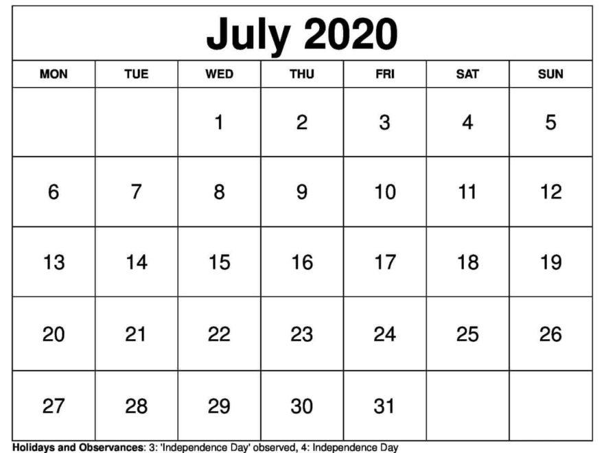 Printable Calendar July 2020 Print free