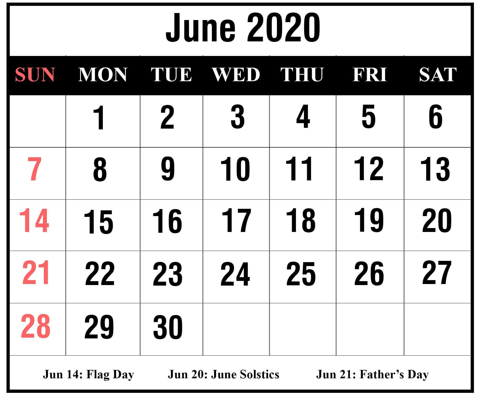 Printable July 2020 Calendar Free