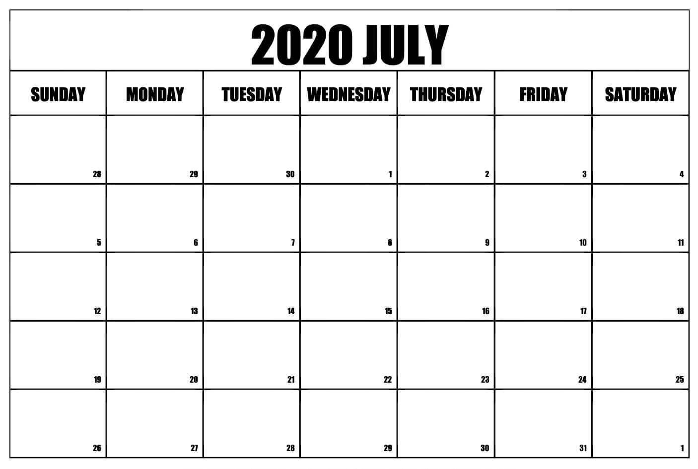 Printable July 2020 Calendar Wallpaper