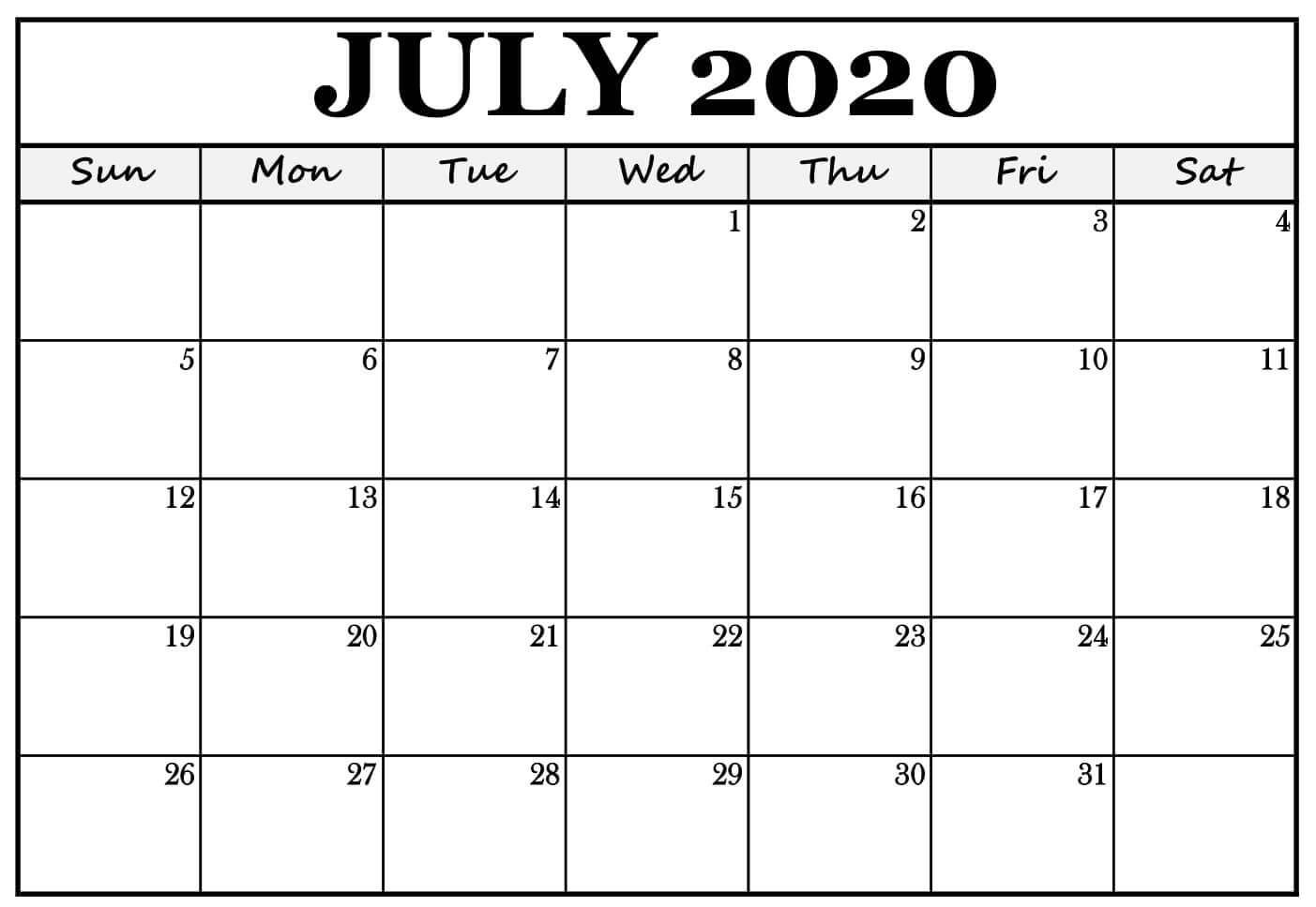 Wallpaper July 2020 Calendar