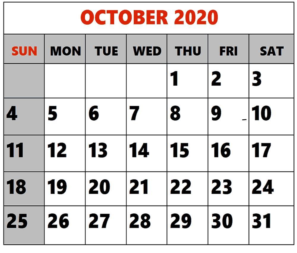 2020 October Calendar Excel