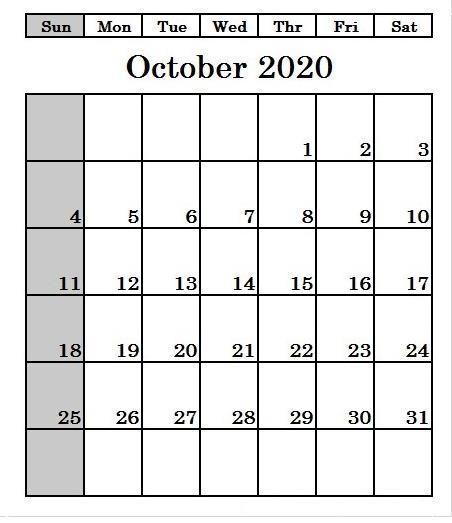 2020 October printable calendar