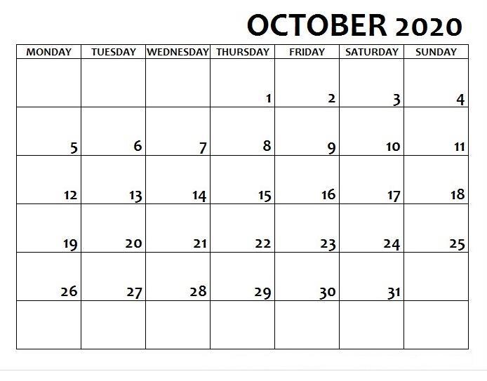 Calendar October 2020 With Holidays