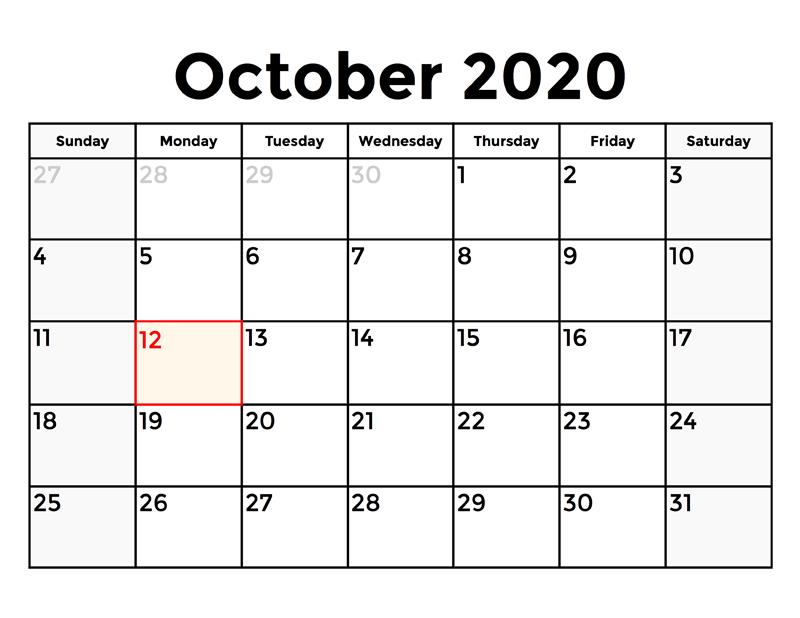 Excel October 2020 Calendar free