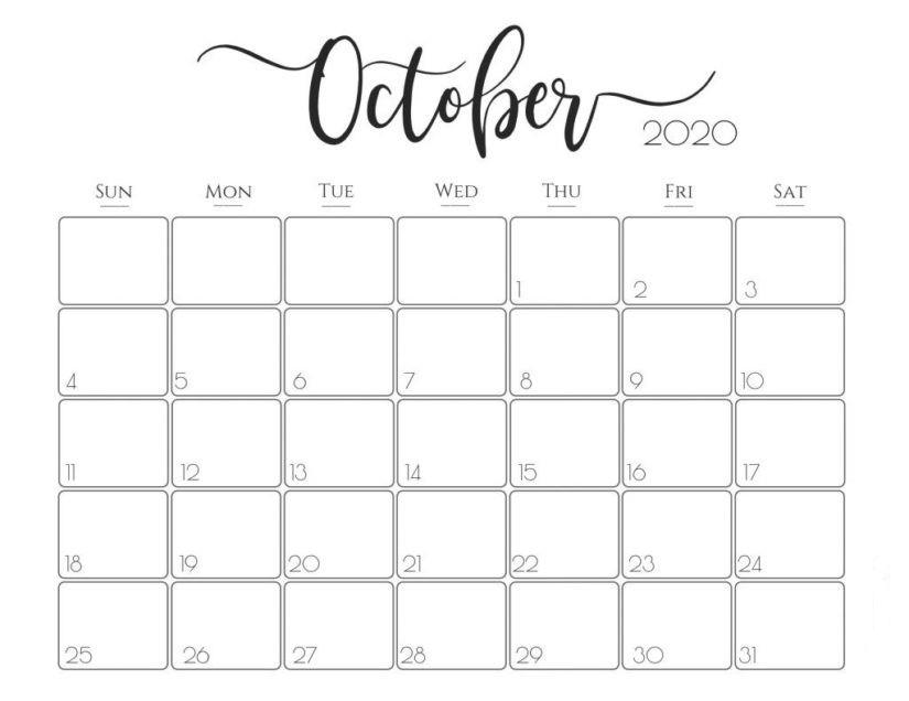 Excel October 2020 Calendar