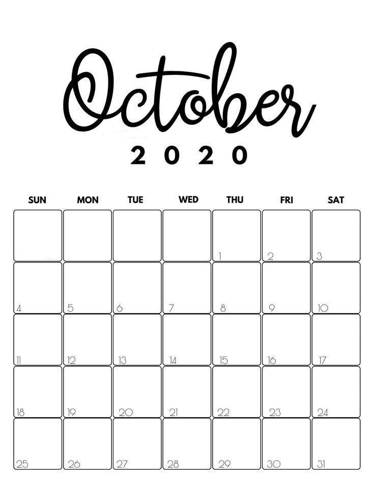 Holidays October 2020 Calendar