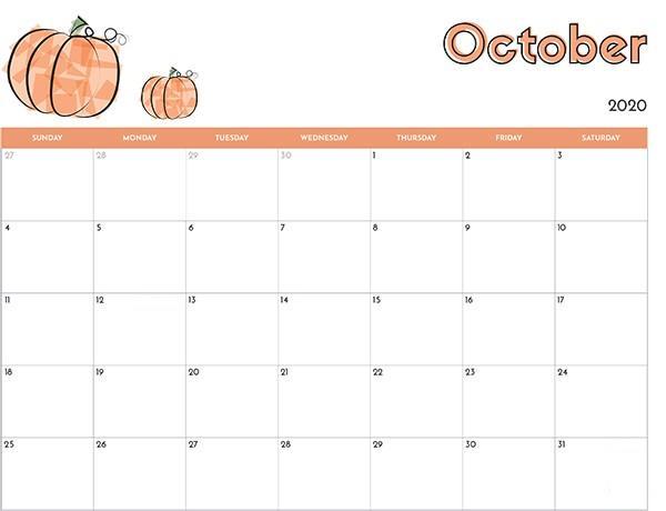 Holoday October 2020 calendar
