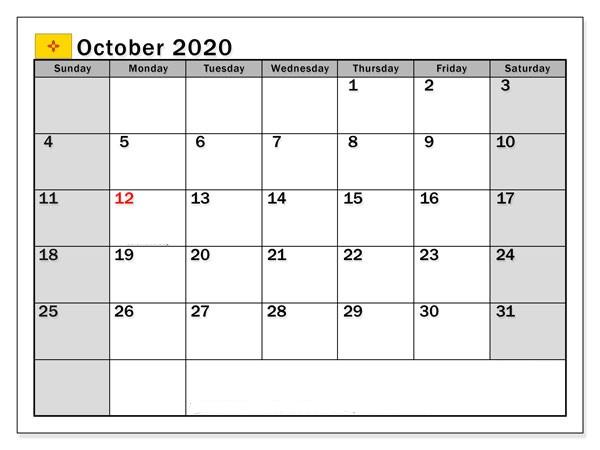 Monthly October calendar 2020
