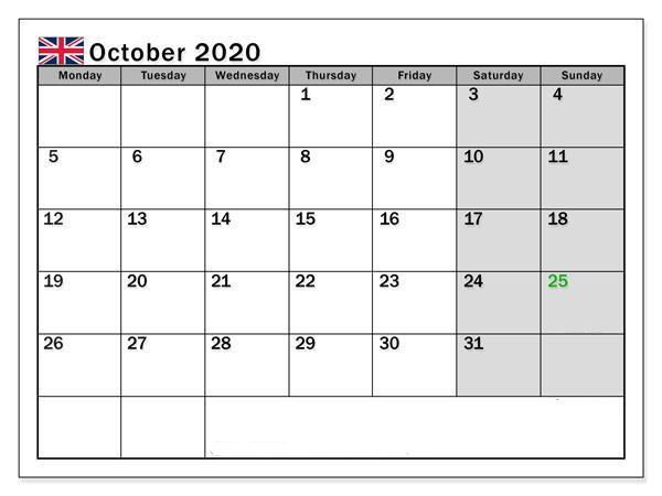 October 2020 Calendar Holidays